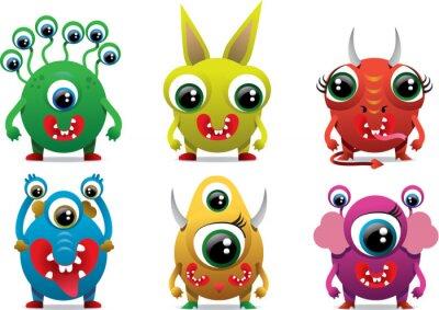 Słodkie słodkie potwór kolor znaków elementem zabawny projekt