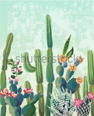 Plakat Słodkie sukulenty cactus wektor wzór