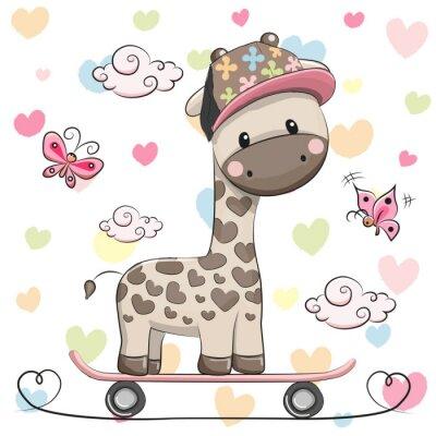 Plakat Słodkie Żyrafa z deskorolka