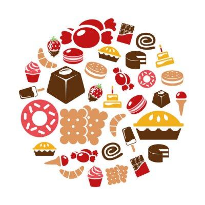 Plakat słodycze ikony w okręgu
