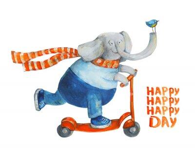 Plakat Słoń na hulajnodze z ptakiem. Szczęśliwy dzień. Akwarela i gwasz Ilustracja