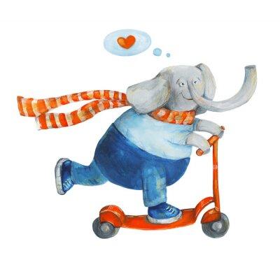 Plakat Słoń na hulajnodze z serca. Miłość. Akwarela i gwasz Ilustracja