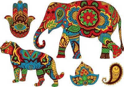 Plakat słoń, tygrys, Butt i Lotos, ręcznie malowane w stylu mehendi