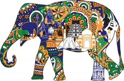 Plakat słoń z symboli Indii