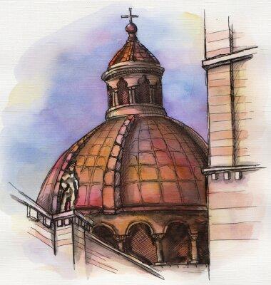 Plakat słynnego budynku Santa Maria strony rysunku akwareli w Florencji