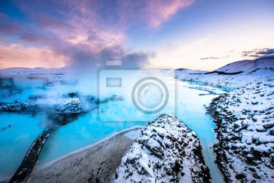 Plakat Słynnej Błękitnej Laguny w pobliżu Reykjavik, Islandia