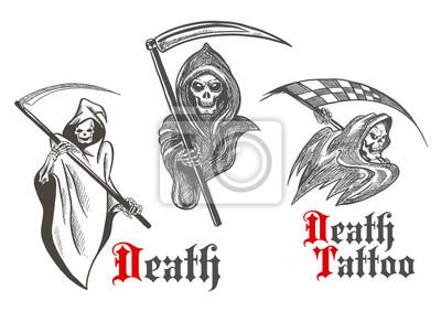 Śmierć projekt tatuażu z naszkicowanych ponurych żniwiarzy