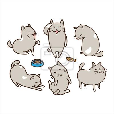 Śmieszny Gruby kot rasy kotek ilustracja kreskówka doodle wektor zestaw