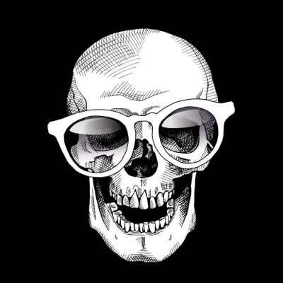 Smiling skull in a glasses on the black background. Vector illustration.