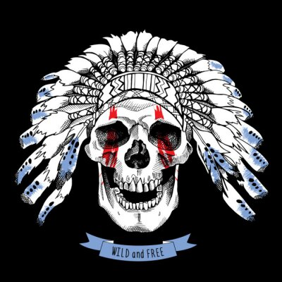 Smiling skull in a Indian Feather Headdress. Vector illustration.