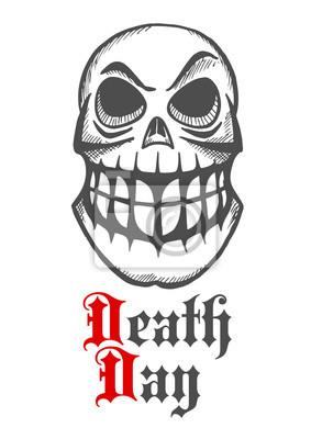 Smirking czaszkę z podniesioną brwią i dużymi zębami