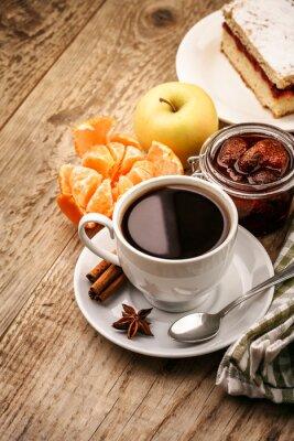 Plakat Śniadanie z kawą i owoców