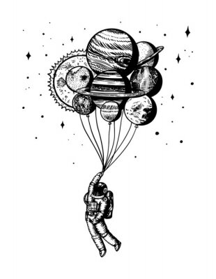 Plakat Soaring Spaceman. Astronaut with planets. Balloons in space. Man in the solar system. Engraved hand drawn Old sketch in vintage style.