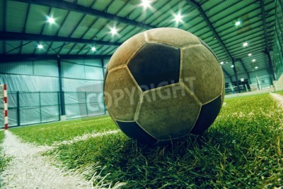 Plakat soccer ball on green grass in an indoor playground