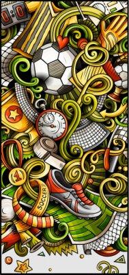 Plakat Soccer hand drawn doodle banner. Cartoon detailed illustrations.