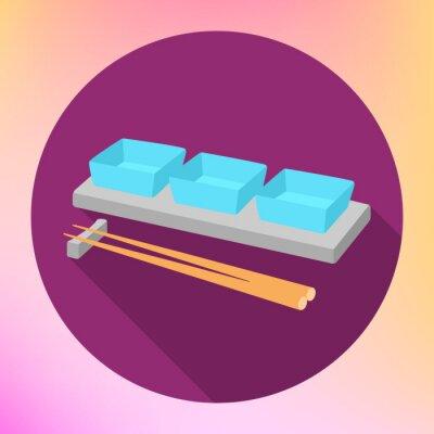 Plakat sos sojowy sos łodzi i pałeczki z płaską znak wektora. Sauceboat Talerz do serwowania z chopstick Japoński żywności.