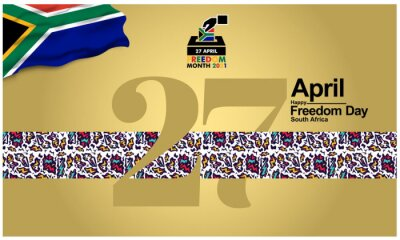 South Africa freedom day logo. Graphics illustration of the 2021 logo of ceremonial National day. Logo with African Traditional Colors and Design. Vector for poster, background and more.
