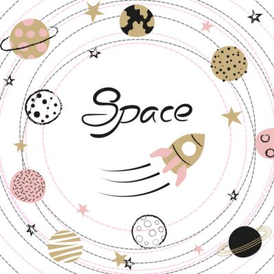 Plakat Space vector illustration with hand drawn planets and rocket for kids.