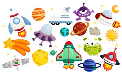 Plakat space  vector set - no background