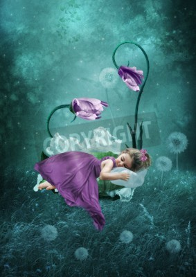 Plakat Śpiąca dziewczynka w magicznym lesie