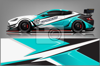 Plakat sport Car decal wrap design vector.Graphic abstract stripe racing background kit designs for vehicle, race car, rally, adventure and livery - Vector