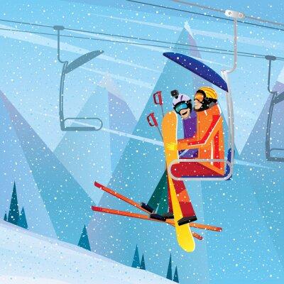 Plakat Sportowcy wspiąć się na górę na wyciągu z lotu ptaka