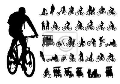 Plakat Sportowi ludzie whit roweru na białym tle