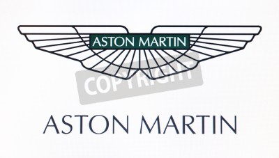 Plakat St. Petersburg, Russia-February 10, 2015: Aston Martin logo on the screen . Is a famous world brand.