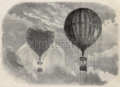 Plakat Stara ilustracja dziwnych zjawisk optycznych podczas wniebowstąpienia aerostatu w Paryżu, 15 kwietnia 1868. Stworzony przez Blancharda w Cossona-Smeetona, opublikowany w L'Illustration, Journal U