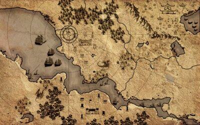 Plakat Stara mapa vintage fantasy