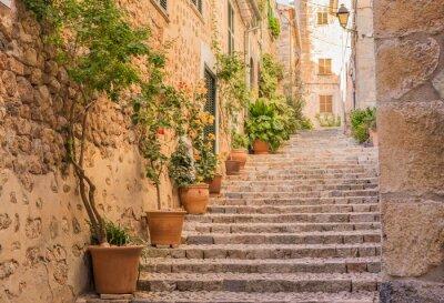 Plakat Stara wieś ulicy schody śródziemnomorskiej