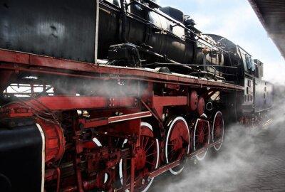 Plakat Stare koła lokomotywy
