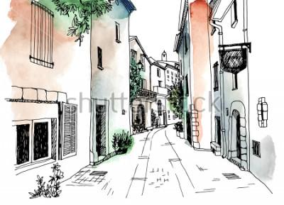 Plakat Stare miasto ulica w stylu szkicu wyciągnąć rękę. Ilustracji wektorowych. Małe europejskie miasto. Francja. Miejski krajobraz na kolorowe tło akwarela
