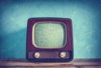 Plakat Starego rocznika telewizor z drewnianym pudełku