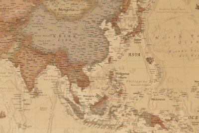 Plakat Starożytna mapa geograficzna Azji z nazwami krajów