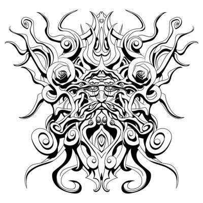 stary diabeł, którego broda i włosy są zbudowane w całości z korzeni i gałęzi