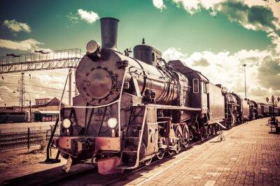 Plakat Stary parowóz, vintage pociąg.
