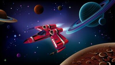 Plakat Statek kosmiczny, planety i przestrzeni.