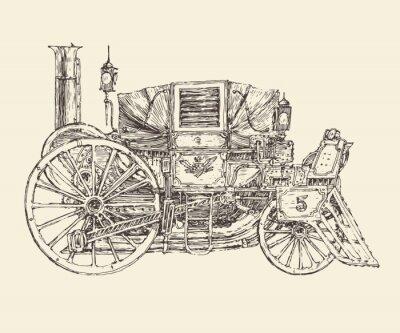 Plakat Steampunk karetki, grawerowane stylu, ilustracji wektorowych