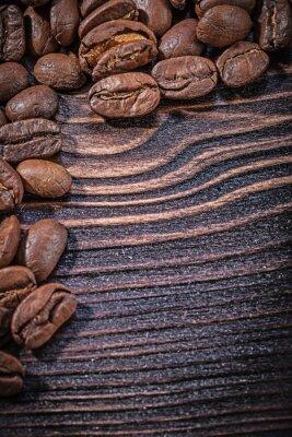 Plakat Sterta ziaren kawy na vintage drewnianym pokładzie górnym widoku