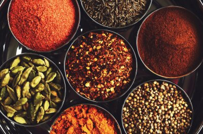 Plakat Stojak z tradycyjnych indyjskich przypraw do gotowania - kardamon, kurkuma, kminek, nasiona kolendry, cynamon i chili