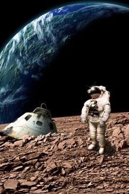 Plakat Stranded astronauta bada swoją sytuację - Elementy tego zdjęcia dostarczone przez NASA.