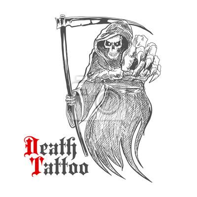 Straszne Grim Reaper z kosą wskazując na widza