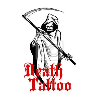 Straszny szkielet w pelerynie z kosą szkicu symbolem
