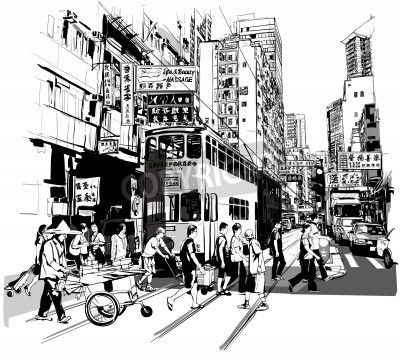 Plakat Street in Hong Kong - Vector illustration (all chinese characters are fictitious)