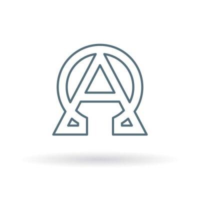 Plakat Streszczenie alfa i omega ikona. Początek i koniec znak. Grecki alfa i omega symbol. Alfa i Omega logo. Cienka linia ikon na białym tle. ilustracji wektorowych.