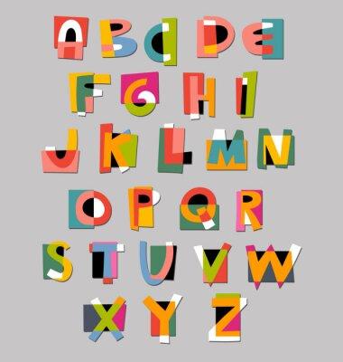 Plakat Streszczenie czcionki alfabetu. Papier wycięcie stylu