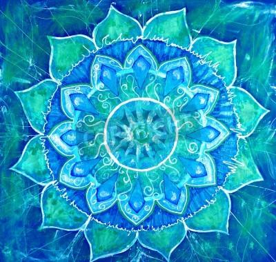 Plakat streszczenie niebieski namalowany obraz z okręgu deseń, mandala chakra Wiśuddha