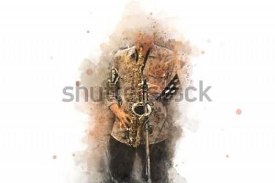 Plakat Streszczenie saksofon na pierwszym planie. Zamknij się, Jazz akwarelowy gra na saksofonie.