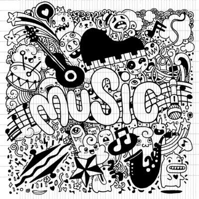 Plakat Streszczenie tle muzyki Ręcznie rysunek Doodle, wektor illustratio